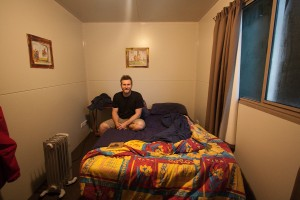 "Our ""room"" at the backpacker's lodge.  It was a 8 by 10 foot metal box."